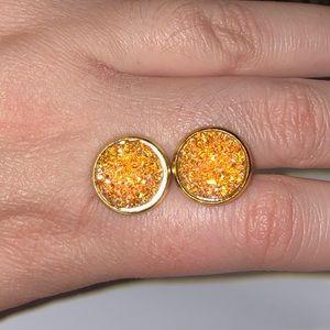 Stainless Steel Resin Druzy Earrings